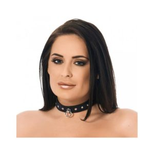 BONDAGE PLAY LEATHER COLLAR WITH RIVETS