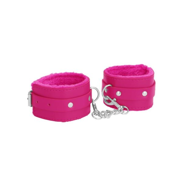 OUCH! PLUSH LEATHER HAND CUFFS PINK