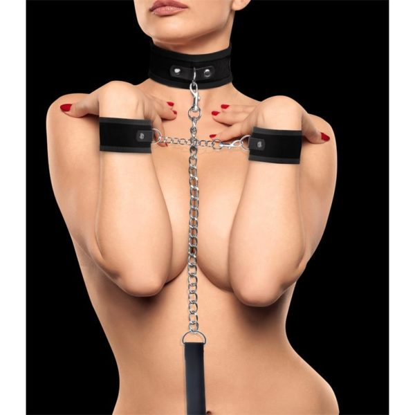 OUCH! SHOTS OUCH! VELCRO COLLAR WITH SEPERATE CUFFS BLACK