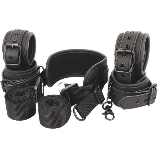 FETISH SUBMISSIVE POSITION MASTER 4 HANDCUFFS BLACK