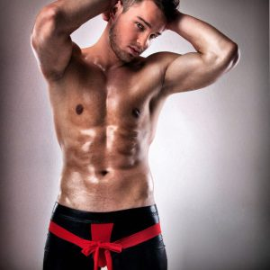 PASSION KOMPLET UNDERWEAR RED/BLACK LEATHER