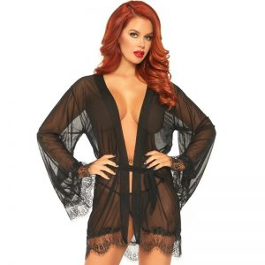 LEG AVENUE SHEER ROBE WITH FLARED SLEEVES