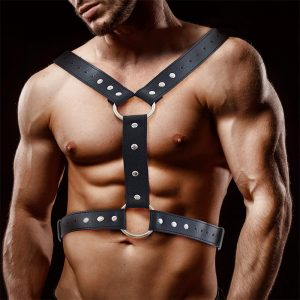 FETISH BY INTOYOU FABRIO MALE CHEST BONDAGE HARNESS VEGAN LEATHER