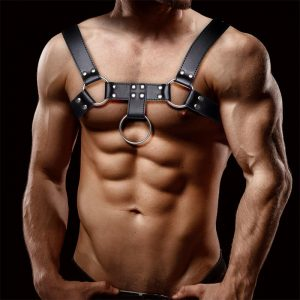 FETISH BY INTOYOU QUOVIS MALE CHEST BONDAGE HARNESS VEGAN LEATHER